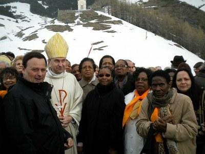Les pèlerins après la cérémonie